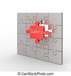 Safety puzzle White isolated 3d render