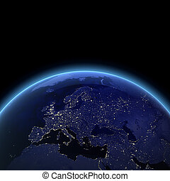 Europe night view Maps from NASA imagery