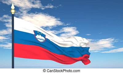 Flag Of Slovenia on the background of the sky and flying...
