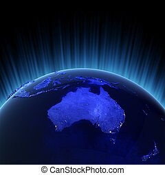 Australia and New Zealand volume 3d render. Maps from NASA...