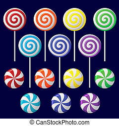 Delicious colorful lollipop collection - Vector set with...