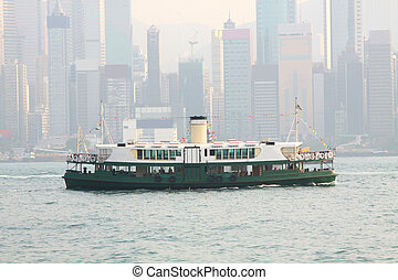 Star Ferry in Hong Kong at day