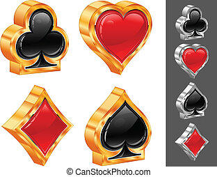 Card suit - Set of shiny card suit icons in black and red,...