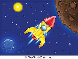 retro rocket in sky - retro rocket ship space vehicle...
