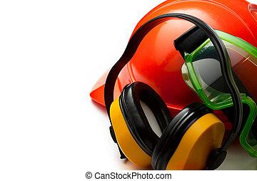 Hjälm,  goggles, säkerhet, hörlurar, röd