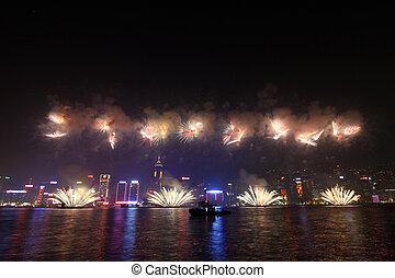 Fireworks in Hong Kong along Chinese New Year 2011 - HONG...