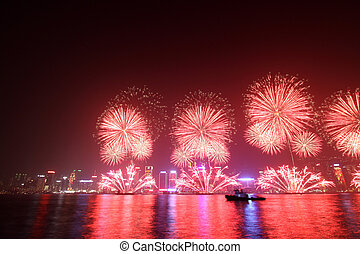 Lunar New Year Fireworks in Hong Kong 2011 - HONG KONG - FEB...
