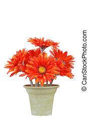 Fake pot of gerbera daisy flowers