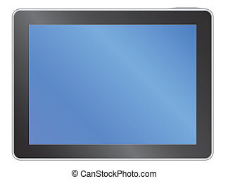 tablet with blank blue screen