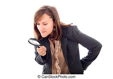 Woman with magnifying glass searching - Research or...