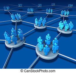Business Team work success as a communication network on...