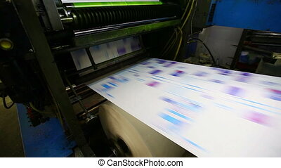 print shop typography machine work with cmyk newspaper