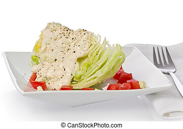 Wedge Salad - Iceberg lettuce wedge salad with blue-cheese...