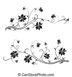 Floral design elements - Set of floral design elements with...