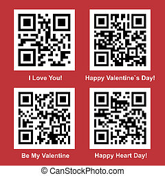 Love QR Code vector set