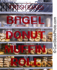 Bagels, donuts muffins and rolls for sale at the streets of...
