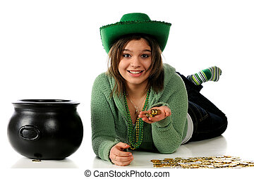 St Patricks Treasure - A young teen celebrating St Patricks...