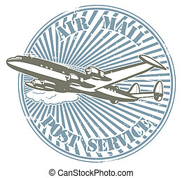 Air mall - Stamp with the image by plane and the text air...