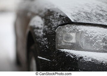 snow car - fragment of the car, front view, snow ice...