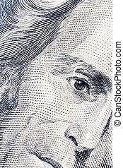Andrew Jackson's twenty dollars portrait - Close-up of...