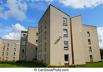 Council House Flats in the UK - Blocks of council housing,...