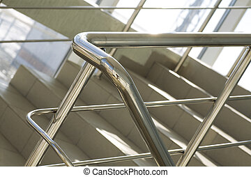 Metal details of an interior of modern office building