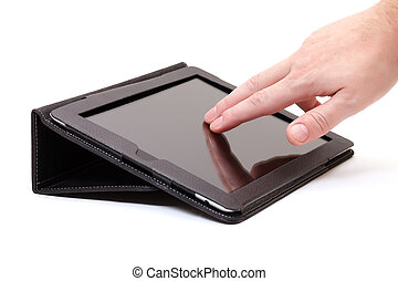 hands with touch pad on white background