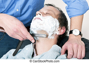 Being shaved