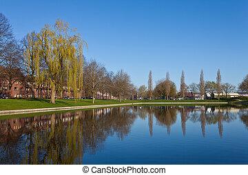 Lagoa, cidade, distrito, primavera