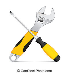 Vector wrench and screwdriver - Screwdriver and wrench on...