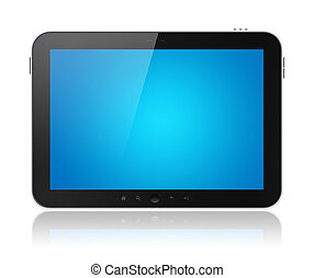 Tablet Computer With Blue Screen Isolated - Digital tablet...