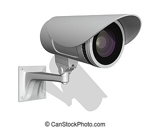 surveillance outdoor camera isolated on white background 3d...