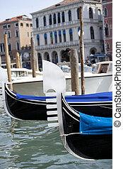 Gondole in Venice - View of gondole in Venice