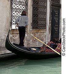Gondolier, Venice - Photo of a Gondolier in Venice