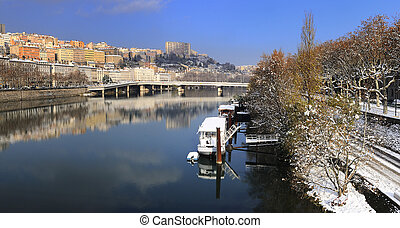 Lyon Croix Rousse and Rhne river - Lyon city in winter, Rhne...