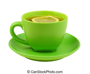 Green cup of tea with lemon