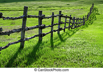 Old wooden fence on green meadow