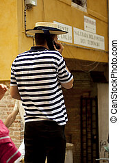 Gondolier  - Photo of a typical Gondolier in Venice