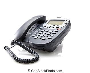 gris, oficina, teléfono, aislado, blanco, Plano de...