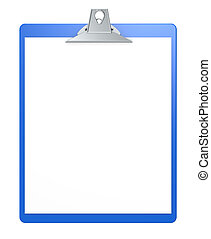 Clipboard. - Blue clipboard with blank paper for copy space.