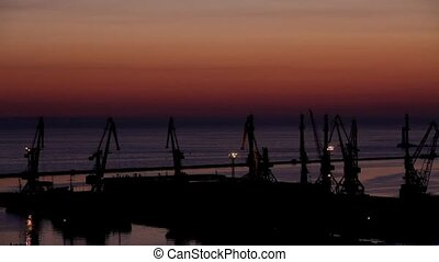 sunrise in the harbor of Odessa - sunrise in the harbor of...
