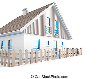 exterior of house in the light tones on white background
