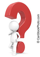 Red question mark - 3d human character with a Red question...