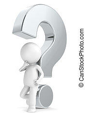 Metal question mark - 3d human character with a Metal...