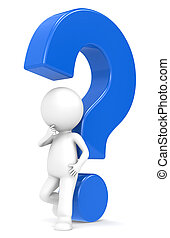 Blue question mark - 3d human character with a Blue question...