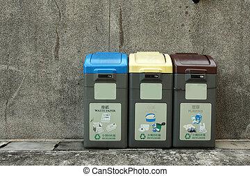 Recycling bins in Hong Kong