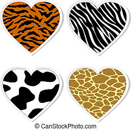 Animal print heart stickers
