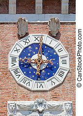 Clock arsenal, Venice - Detail of the clock in the arsenal,...