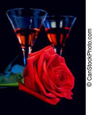バラ, 酒, 優しい, 黒, 背景, 赤, ガラス