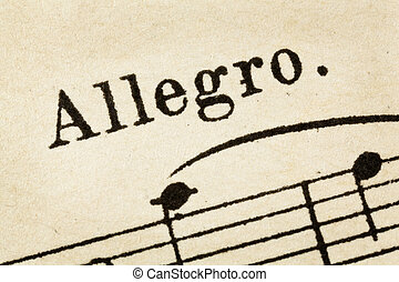 allegro - fast music tempo - allegro - fast, quickly and...